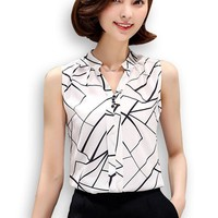 Women's Casual Sleeveless White/Black Chiffon Office Blouse - Real-Women Sizes (2 Colors)