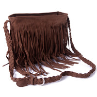 Coffee Fringe Boho Crossbody Handbag