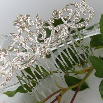 "Crystal Bridal Hair Comb ""Floral Fireworks"", Wedding Hair Pieces, Rhinestone Combs, Wedding Hair Accessories, Bridal Headpieces"
