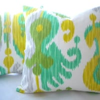 Yellow multi color Ikat pillow cover, FABRIC BOTH SIDES, Indoor/outdoor pillow cover in green ikat, many sizes available