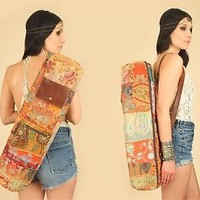 ViNtAgE INDIAN Kantha YOGA Mat Bag LEATHER Crossbody Embroidered Yogi Tote