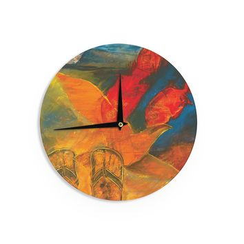 "Josh Serafin ""What's Beneath My Feet"" Fish Seagull Wall Clock - Outlet Item"