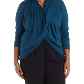 Plus Size Teal Cowl Neck Wrap Top by Charlotte Russe