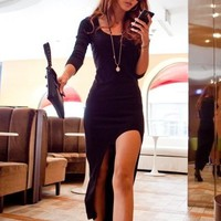 Fashion ASYMMETRICAL LONG SLEEVE DRESS