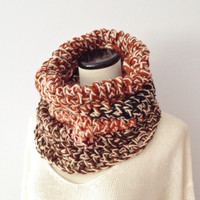 Chunky Knit Cowl - Neutral Scarf - Multicolored Scarf - Unisex Scarf -  Womans cowl - Hooded Cowl - Neckwarmer