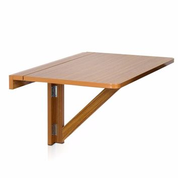 Furinno Wall-Mounted Drop-Leaf Folding Table, Cherry