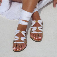 Bridal lace up sandals handmade of leather and silk. Make your colors combination. IRIS 02 NEW