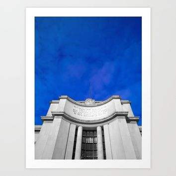 Paris sky architecture black and white with color Art Print by Mr Splash