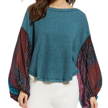 Free People Blossom Thermal Printed Balloon Sleeve Blouse | Dillards
