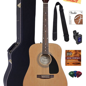 Fender Acoustic Guitar Bundle with Hard Case Stand Tuner Strings Strap Picks Austin Bazaar Instructional DVD and Polishing Cloth