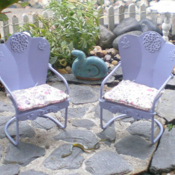 Lilac Miniature Furniture, Dollhouse Chairs, Miniature Garden