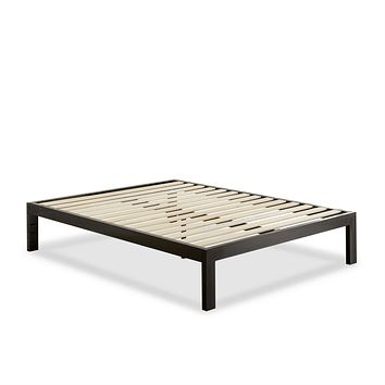 Queen Modern Black Metal Platform Bed Frame with Wood Slats