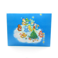 Blue Care Bears Christmas Greeting Card with Tree