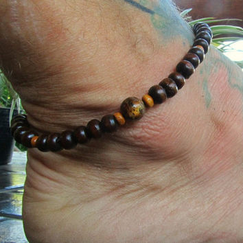 Men's Beaded Anklet with Tiger Eye & Wooden Beads / Manklet Stretchy Hippie Surfer Travel Festival Party Beachwear / Men's Jewelry