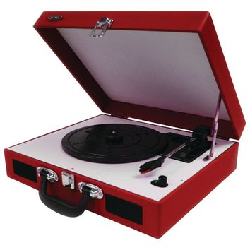 Jensen Portable 3-speed Stereo Turntables With Built-in Speakers (red)