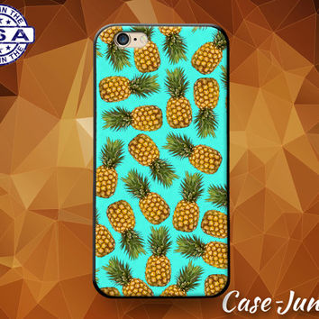 Blue Pineapple Pattern Fruit Summer Tumblr Cute Rubber Custom Case For iPhone 4 and 4s and iPhone 5 and 5s and 5c and iPhone 6 and 6 Plus +