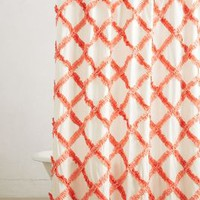 Ruffled Trellis Shower Curtain by Anthropologie Pink One Size Shower Curtains