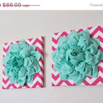 "MOTHERS DAY SALE Two Wall Flowers -Mint Dahlia Flowers on Hot Pink and White Chevron 12 x12"" Canvas Wall Art- Baby Nursery Wall Decor-"