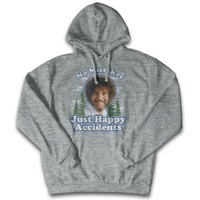 """Bob Ross """"No Mistakes Just Happy Accidents"""" 100% Authentic Graphic Hoodie/Pullover for Men and Women"""