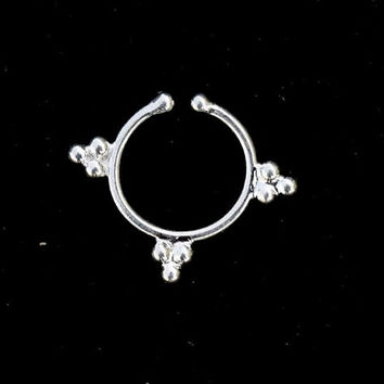 silver septum jewelry, Septum ring, Fake  Septum, Septums,  Nose stud, tribal silver septum, Sterling septum, Fake Septum, nose ring,