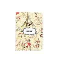 Paris Pattern [Name Customized] Leather Passport Cover - Vintage Passport Wallet - Travel Accessory Gift - Wallet for Women and Men _Mishkaa