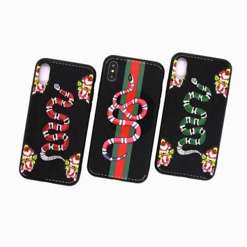 GUCCI iPhoneX glass case GUCCI snake 7plus deluxe guuci6pls cover 6s