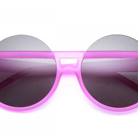 80's - Soft Touch Round Cut Out Sunglasses