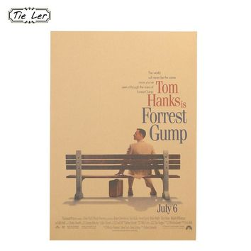 Forrest Gump Classic Vintage Movie Kraft Paper Poster Home Decoration Reminiscence Wall Sticker Old Painting 51.5X36cm