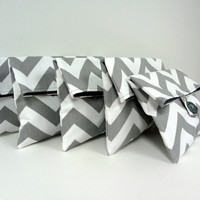 Gray Chevron Clutches Set of 5 Gray and White Chevron Makeup Bags Bridesmaid Gift Gray Wedding Chevron Wedding Made to Order