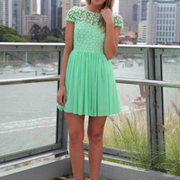 SPLENDED ANGEL DRESS , DRESSES, TOPS, BOTTOMS, JACKETS & JUMPERS, ACCESSORIES, 50% OFF SALE, PRE ORDER, NEW ARRIVALS, PLAYSUIT, COLOUR, GIFT VOUCHER,,Green,Print,LACE,SHORT SLEEVE,MINI Australia, Queensland, Brisbane
