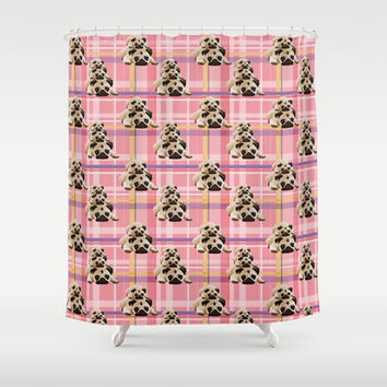 Pugs on Pink Plaid Shower Curtain by pugmom4
