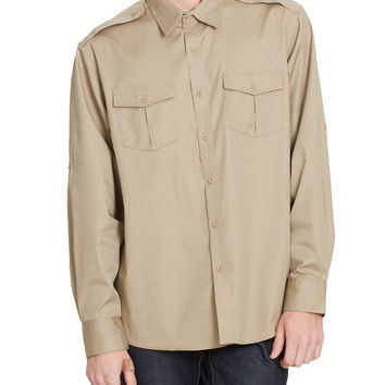 LE3NO PREMIUM Mens Twill Work Long Sleeve Button Down Shirt