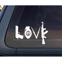 LOVE w/ Peace Sign Grenade AK Car Decal / Sticker