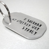P. Sherman 42 Wallaby Way Sydney - Rounded Aluminum Dog Tag Keychain - Funny Quote Address Movie