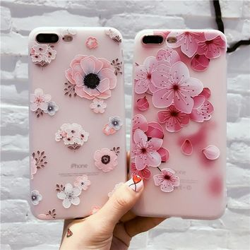 New Fashion Phone Case For iPhone 7 6 6s Relief 3D Flowers Soft TPU Cover For iPhone 6 6s 7 Plus Coque Capa For iPhone 5 5s se