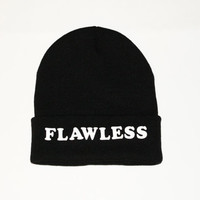 SPRING SALE- Black Beanie with words, Black Flawless beanie, grunge, slouch beanie, beanie with letters, Beyonce Beanie, I woke up like this