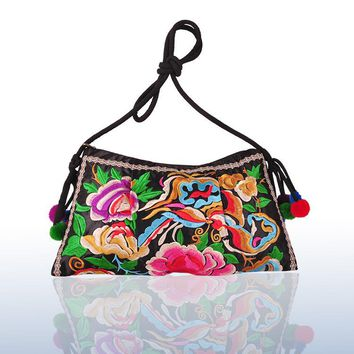 Bohemian  embroidery ethnic Thailand Clutch handbag shoulder messenger bag