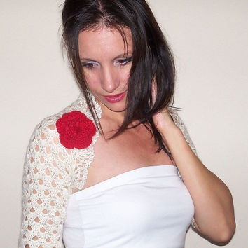 Ivory wedding bolero shrug / Angora crochet ivory wedding bolero shrug / Lace crochet angora bolero shrug