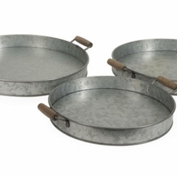 Galvanized Round Trays - Set of 3