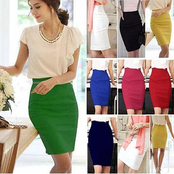 2016 Pencil Skirt Women Plus Size High Waist Slim Hips Candy Color Formal Saias Feminino Lady Classic Knee Length Office Skirts