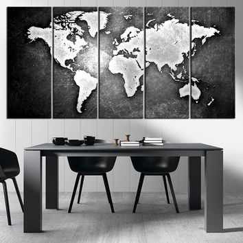 Best metal world map art products on wanelo black and metalic world map canvas print ready to hang framed large wall gumiabroncs Choice Image