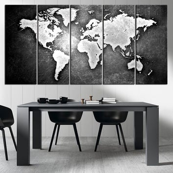 Black and Metalic World Map Canvas Print, Ready to Hang, Framed, Large Wall Art World Map Art,  World Map on Metal Background on Print - MC162