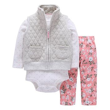 2017 Special Offer Clothes Spring Autumn Hooded 2017new Cotton Boy Girl 3pcs/set Baby Clothing Set With Zipper Newborn Suit