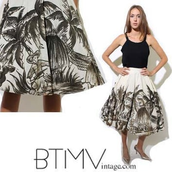 50s MEXICAN full CIRCLE SKIRT palm trees tropical by BTMVintage