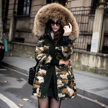 Top Fashion Raccoon Fur Hooded Down Coat Women 2016 Winter White Duck Down Jackets Camouflage Warm Parkas Outerwear CT163