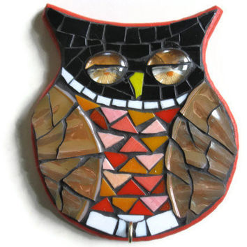 Owl Art wall hanging Key Holder Mosaic Hook Hanger Home Decoration Broken China Pearl Wings Eyes
