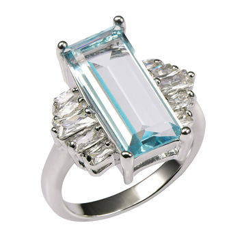 Aquamarine With Multi White Simulated Sapphire 925 Sterling Silver Ring For Women Size 6 7 8 9 10 11 F1468