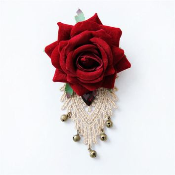 Vintage New Woman Brooches Big Flower Fabric Rose Lace Rhinestone Hand-made Corsage Shawl Buckle Brooch Pins Fashion Jewelry