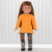 Gold Tunic Top and Aztec Leggings for18 inch Girl Dolls American Doll Clothes