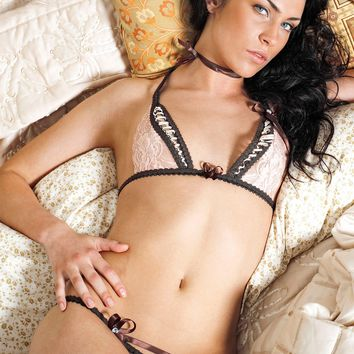 French Lace Lingerie Set with Swarovski Crystals